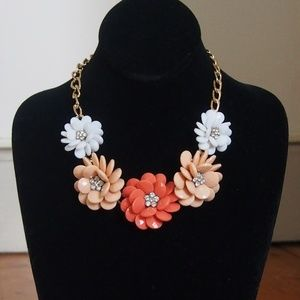 Jewelry - Five Flower & Rhinestone Center Statement Necklace